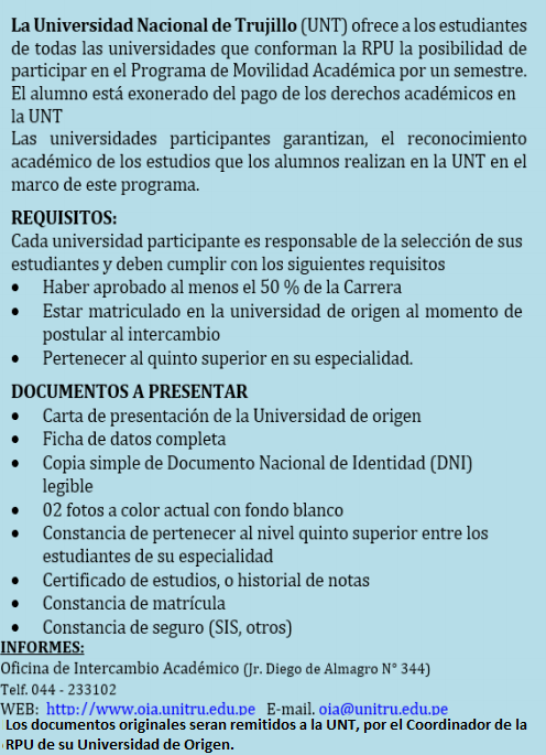 Requisitos Movilidad académica UNT
